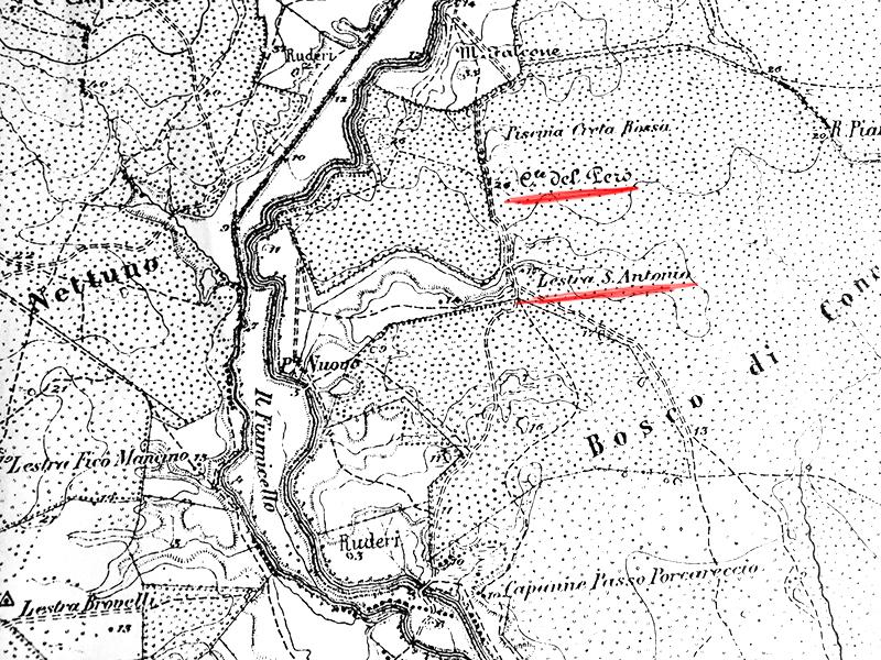 Il dettaglio della carta topografica del 1887 relativo all'area oggi occupata dalla discarica