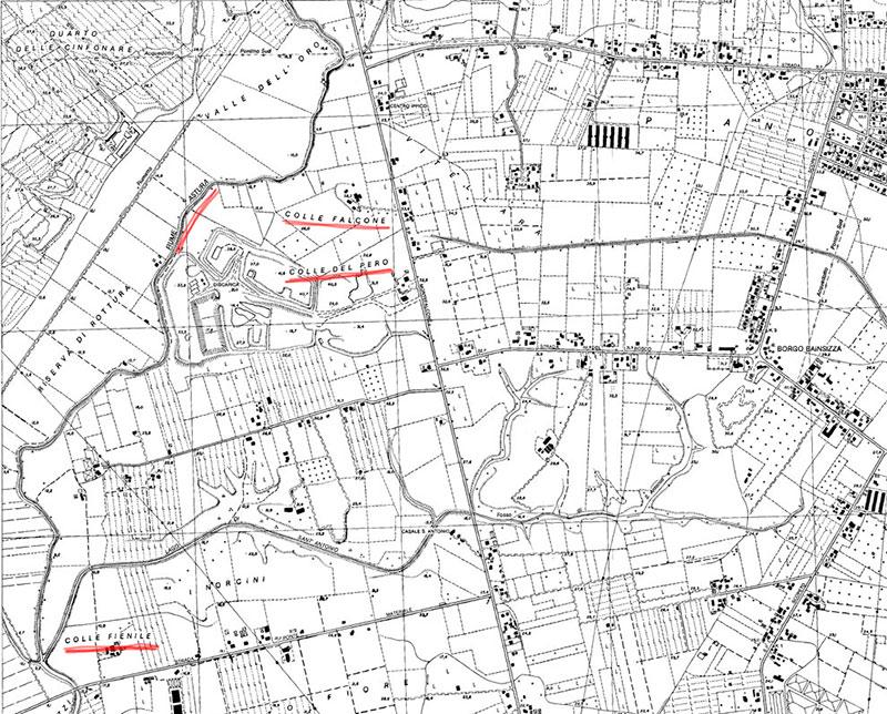 Stralcio della carta topografica regionale degli anni '90. Scala originale 1:10.000