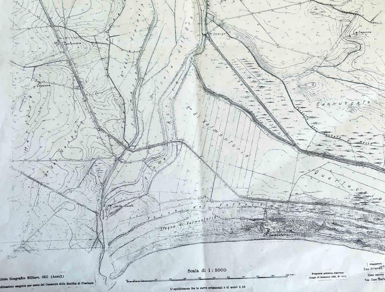 Carta topografica del 1932 relativa al tratto termìnale del fiune Astura