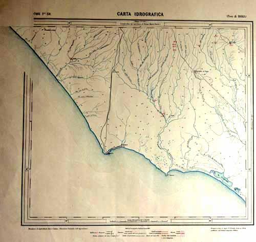 Carta idrografica del 1889 comprendente il bacino originale del fiume Astura